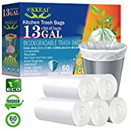 OKKEAI Biodegradable Garbage Bags 13 Gallon Trash Bags - 49 Liter Garbage Bags Scent Free Wastebasket Trash Can Liners for Home Bathroom Office kitchen,60 Count Clear