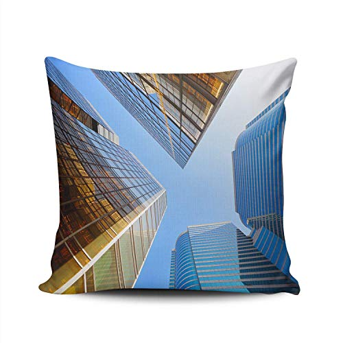 Throw Pillow Case Tall Office Building,Two-Sides Printed Pillowcase With Invisible Zipper,Square Cushion Cover for Bed Couch Sofa Car 18'x18'