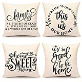 4TH Emotion Farmhouse Decoration Pillow Covers 18x18 Set of 4 Family Saying This is us Our Home...