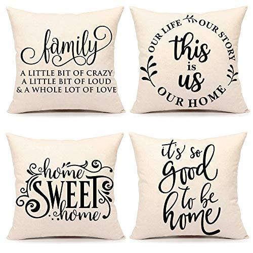 4TH Emotion Juego de 4 fundas de almohada para sofá, sofá, algodón, lino, 45,7 x 45,7 cm