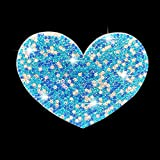 Unique Car Decals, Crystal Rhinestone Car Sticker, Bling Stickers for Cars, Girly Car Decor Accessories for Bumper Window Laptops Luggage Notebook (Blue Heart)