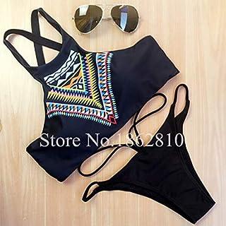 BEESCLOVER 2018 New Women Bikinis High Neck Push up Bikini Set Geometry Black Swimwear Female Slim Print Swimsuit Biquini Brazilian Beach