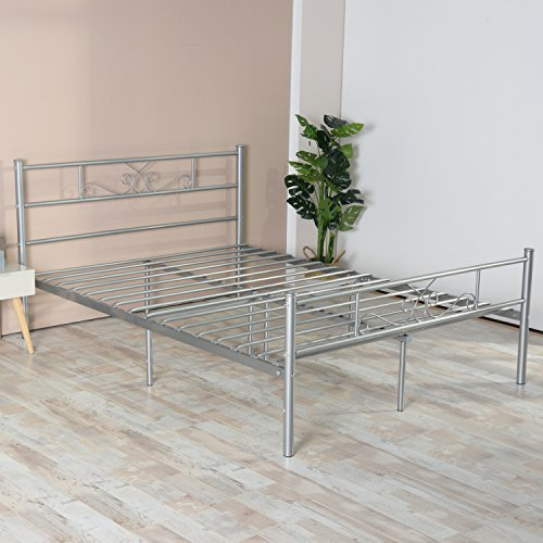 SimLife Full Size Bed Frame with Headboard and Footboard Mattress Steel Double beds Box Spring No Assembly Metal Platform Bed for Kids Adult Silver