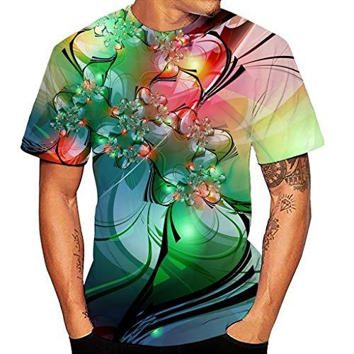 Yowablo T-Shirt Homme Femme Nouveau Design 3D Impression Col Rond Musical Chemise à Manches Courtes Top Blouse (M,17 Vert)