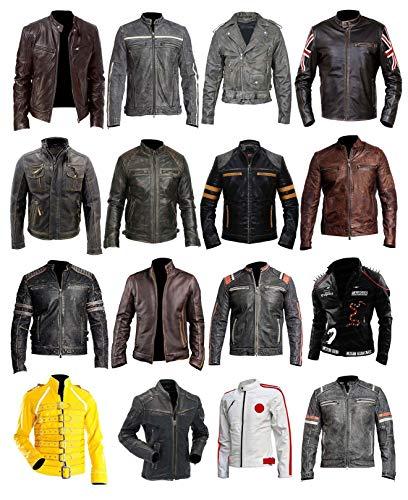 Men's Biker Cafe Racer Vintage Motorcycle Distressed Brown Leather Jacket