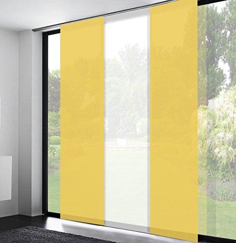 Mass-Gardinen-Shop Schiebegardinen Schiebevorhänge flächenvorhang schiebegardinen inklusive Technik (Höhe: 255cm x Breite: 60cm / Gelb)