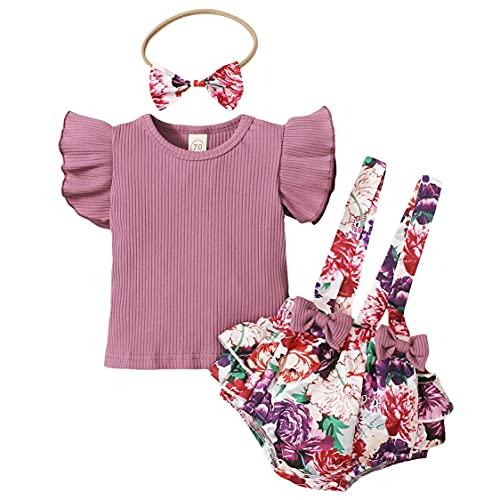 L&ieserram Florali - Conjunto de 3 piezas de ropa de niña con estampado de flores, estampado de leopardo, con lazo, camiseta de manga corta y camiseta de manga corta violeta 3-6 Meses