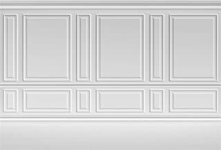 Laeacco Empty Room Architectural Pale Grey Wall Background 10x8ft Vinyl Photography Background Classic Style Panel Wall Houses Flats Interior Vintage Decor Elegant Backdrop