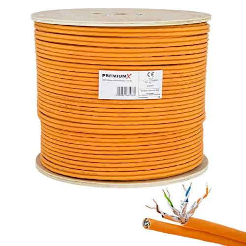 PremiumX 100m CAT 7 Netzwerkkabel Duplex LAN-Kabel Ethernet Datenkabel S/FTP PiMF PoE Eca Cat7 Verlegekabel Installationskabel Cat.7