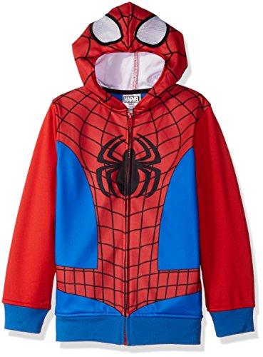 Marvel Big Boys' Spiderman Fleece Zip Costume Hoodie, Red/Blue, X-Small-8