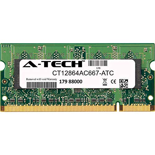 A-Tech 1GB Replacement for Crucial CT12864AC667 - DDR2 667MHz PC2-5300 Non ECC SO-DIMM 1.8v - Single Laptop & Notebook Memory Ram Stick (CT12864AC667-ATC)