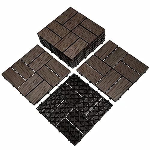 8PCS 12 x 12 Inch Deck Tiles, Wood Plastic Composite Outdoor Flooring Easy Install Interlocking Patio Tiles, Waterproof for Outdoor Indoor Use (8Pcs, Brown)