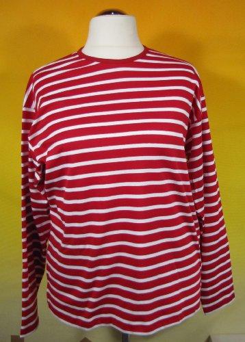 Bretonisches Hemd mit Rundhalsausschnitt Streifen rot / wieß gestreift 2500_02 von Modas Größe 44 (Damen) / 52 (Herren)