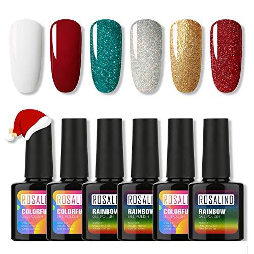 ROSALIND Gel Nail Polish Glitter Set,Color UV Nail Gel Semi-permanent...