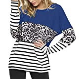 NQY T-Shirt Femmes Tops Femmes Sexy Col Rond Rayures Élégantes Imprimé Léopard Épissage De Mode Femmes Tops Automne Nouveau Chic Lâche Confort Loisirs À Manches Longues Femmes T-Shirt D-Blue XXL