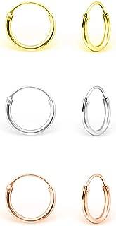 Véritable Argent Sterling 925 Bali Créole Boucle d/'oreille diamètre 8 mm épaisseur 1.5 mm