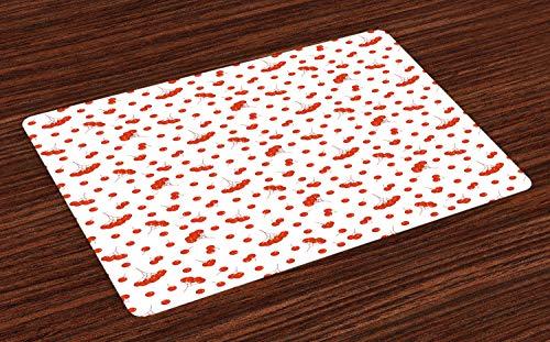 ABAKUHAUS Eberesche Platzmatten, Fliese-Muster mit saftigen Ashberries in der grafischen Art-klaren Herbstlaub-Anzeige, Tiscjdeco aus Farbfesten Stoff für das Esszimmer und Küch, Scharlachrot Weiß