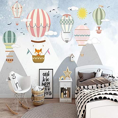Wnyun Custom Photo Wallpaper for Bedroom Walls Hand Painted Children Room Hot Air Balloon Mural Waterproof Canvas Painting Wallpaper-200cmx140cm