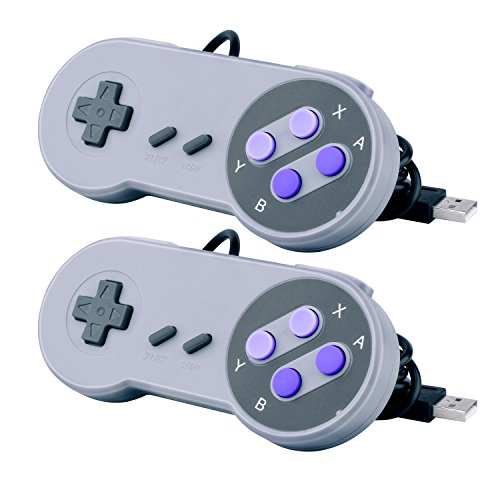 Quimat 2 Pcs Gamepad USB, SNES Controller / Portable per Nintendo Gamepad for PC Raspberry Pi Windows Mac