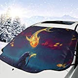 Hiram Cotton Car Sunshade Poisson Rouge Et Chat Papier Peint Pare-Soleil Parasol pour...