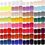720 Piezas 30 Juegos de Uñas Postizas Cuadradas Cortas Uñas Acrílicas Coloridas de Cubi...