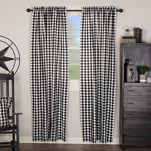 VHC Brands Annie Buffalo Check Curtain, Panel Set 84x40, Black