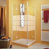 Schulte Accès d'angle Youngline, portes de douche pivotantes + parois, verre décor dépoli light, profilé aspect chromé,...