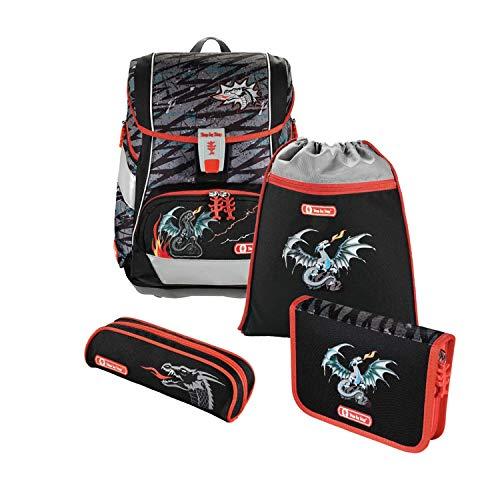 """Step by Step Schulranzen-Set 2IN1 """"Fire Dragon"""" 4-teilig, rot-schwarz, Drachen-Design, ergonomischer Tornister mit Reflektoren, höhenverstellbar mit Hüftgurt für Jungen 1. Klasse, 19L"""