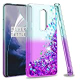 OnePlus 7 Pro Case (Not Fit Oneplus 7) with HD Screen Protector for Girls Women, LeYi Glitter Cute Bling Liquid Quicksand Clear Protective Phone Case for One Plus 7 Pro ZX Teal/Purple