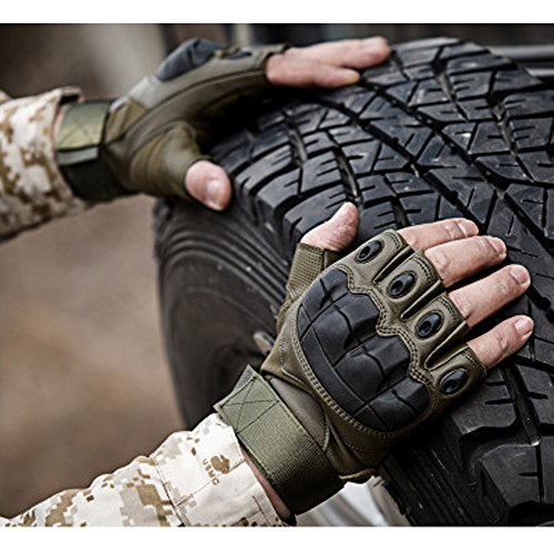 K-mover Gear Military Fingerless Hard Knuckle Tactical Gloves Half Finger for Army Gear Sport Driving Shooting Paintball Riding Motorcycle (Black, Large)