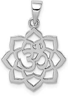 925 Sterling Silver Lotus Om Center Pendant Charm Necklace Sport Yoga Religious Spiritual Religion Fine Jewelry For Women