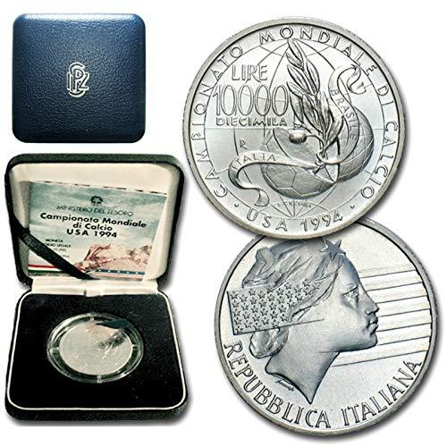 Italia 10000 lire Argento'Campionato Mondiale di Calcio USA 1994' (22 gr. - 34 mm.) UNA MONETA da collezione Silver Coin IN COFANETTO ORIGINALE