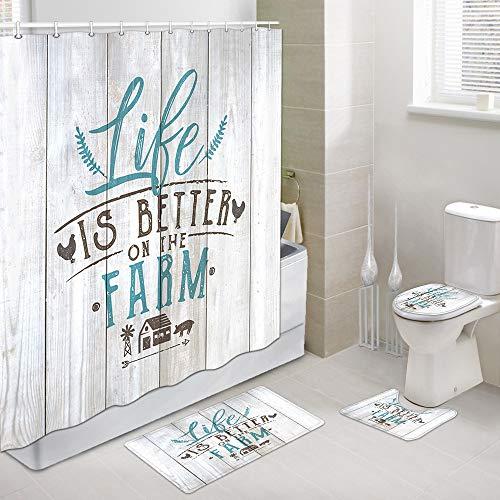 Juego de cortina de ducha con diseño de gallo, con cubierta de baño para baño, Life is Better on the Farm Chicken and Pig con casa de granero en alfombras de ducha de madera vintage