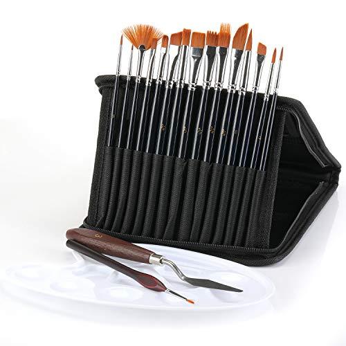 n Pinselset-Malen, Pinsel-Set 19 Stück, Nylon Pinsel Acrylpinsel-Künstlerpinsel für Aquarellmalerei Ölmalerei, mit Mischpalette/Tragetasche/Spachtel/Detail Pinsel, für Nail Art & Modelle (A)