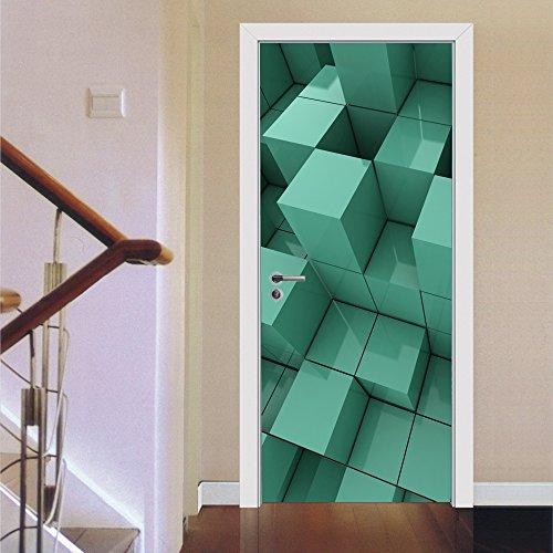 Pegatinas De Puerta Cuadrada Tridimensional Decoración Del Hogar Pegatinas De Pared Estéreo 3D
