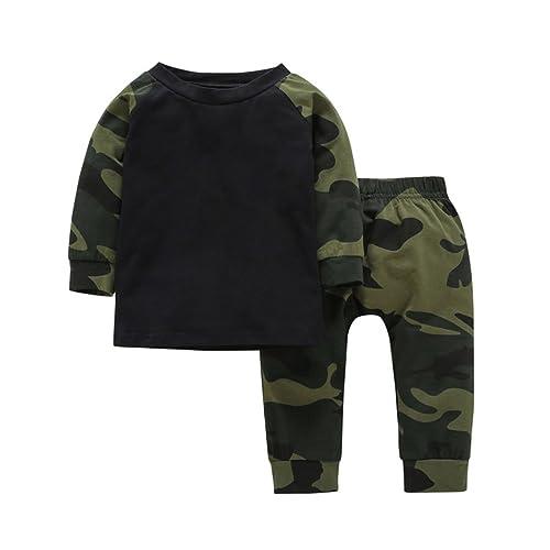 8ee4a085418f YIJIUJIU Baby Boy Girls Camouflage Tops+ Army Designer Pants Set 2 Piece