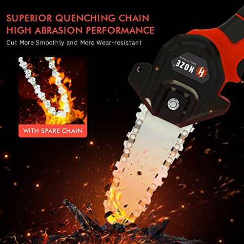 Mini Chainsaw,Lithium-Ion Brushless Cordless 4-Inch Chain Saw Kit, Handheld Protable Electric Chainsaw with 24V 2Pcs Batteries ,Pruning Shears Power Rechargeable Chain saw for Tree Branch Wood Cutting