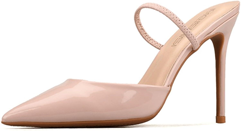Exing Damenschuhe 2018 New Refreshing Frühling Sommer Spitzen Sandalen Leder Stiletto High Heels Sandalen Slipper