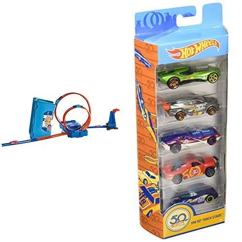 Hot Wheels FLK90 - Track Builder Stunt Builder Super Multi Looping Box & Wheels 01806 5er Pack 1:64 Die-Cast Fahrzeuge Geschenkset