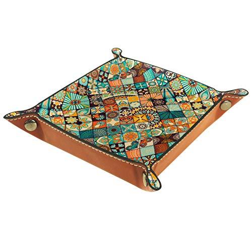 TIKISMILE Aufbewahrungstablett mit Mandala-Mosaik-Muster, Leder, Lippenstift, Kosmetik, Organizer, Tablett, Zuhause, Büro, Schreibtisch, Schlüssel, Kleinteile, quadratischer Teller