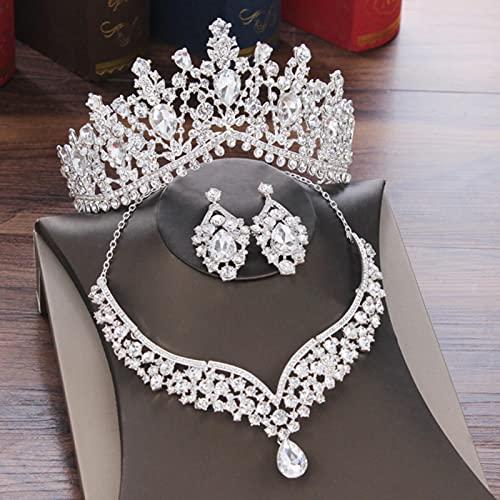 CXWK Conjuntos de joyería Nupcial con Gota de Agua de Cristal, Tiaras de Diamantes de imitación, Collar con Corona, Pendientes para Novia, Boda, Conjunto de Joyas de Dubai