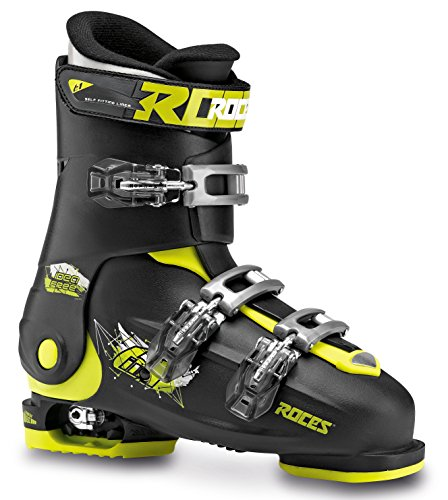 Roces Kinder Skischuhe Idea Free Größenverstellbar, Black-Lime, 36/40, 450492-018