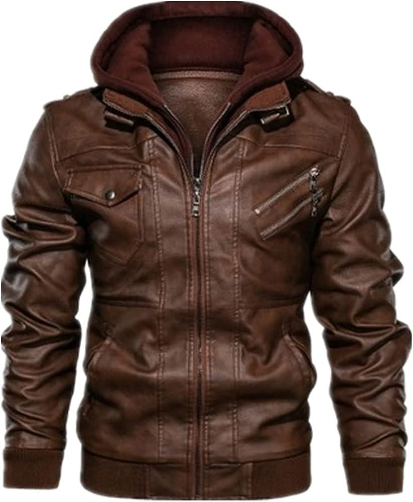 Autumn Winter Men's Leather Windbreaker Hooded Male Outwear