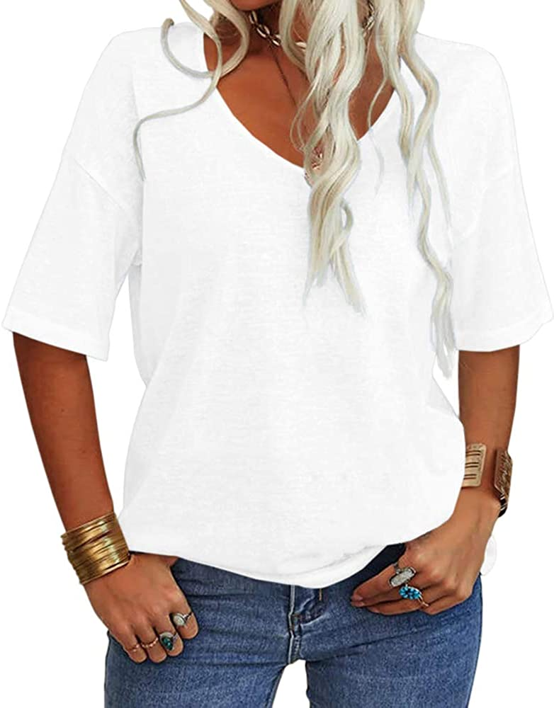 Danedvi Award Women Limited price sale Fashion V-Neck Half Sleeves Solid Casual T Shirt L