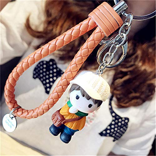 Keychains Keychain Leather Rope Llavero Car Key Chains Ring Women Charm Bag Accessories Pendant Porte Clef Jewelry Gifts Orange