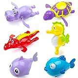 MOOKLIN ROAM Baby Badespielzeug, 5 Stück Uhrwerk Baby Bade Bad Schwimmen Badewanne Pool Spielzeug Schildkröte Schwimmbad Spielzeug für 3+ Monate Kleinkinder Jungen Mädchen (Zufällige Farbe)
