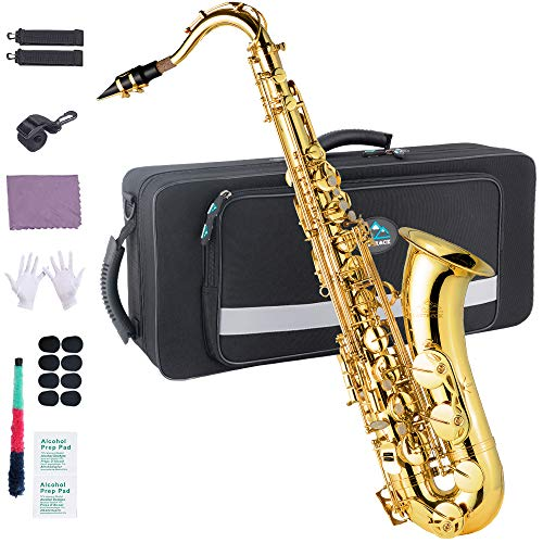 EASTROCK Tenor Saxophone B Flat Gold Laquer Sax Students Beginner With Updated Carrying Case,Reeds,Cleaning Kit,Gloves,Neck Straps,Mouthpieces