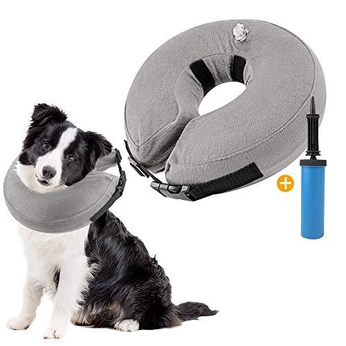 SlowTon Collare di Recupero Gonfiabile per Cani, Collare Gonfiabile per Recupero Morbido di Animali Domestici con Fibbia Regolabile (L, Grigio)