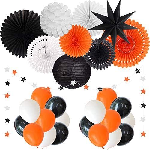 YUNXUAN Black Orange White Party Decorations Hanging Paper Fans Paper Lanterns Star Garland product image
