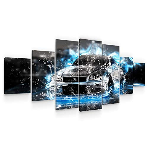 Startonight Grand Format Art Encadré Abstrait Chic Noir Voiture, Impression De Photos Sur Toile XXL Imprimée Tableau Motif Moderne Déco d'Art 7 pieces Tendu Sur Chassis 100 x 240 cm
